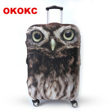 "OKOKC Owl Animal Luggage Protective Cover for 19""-32"" Trolley Suitcase, Elastic Travel Suitcase Cover Travel Accessories"