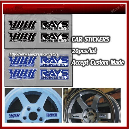 Car sticker decal volk racing wheel sticker rays engineering wheel drives emblem stickers wholesale 20pcs
