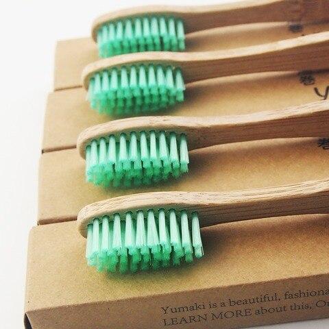 100 pecas de madeira verde 100 feito de bambu escova de dentes escova de dentes