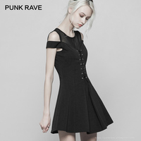 PUNK RAVE Gothic Women's Black Knitted Dress Fashion Short Sleeve Mesh Sexy Strapless A line Dress Summer Off Shoulder Dresses