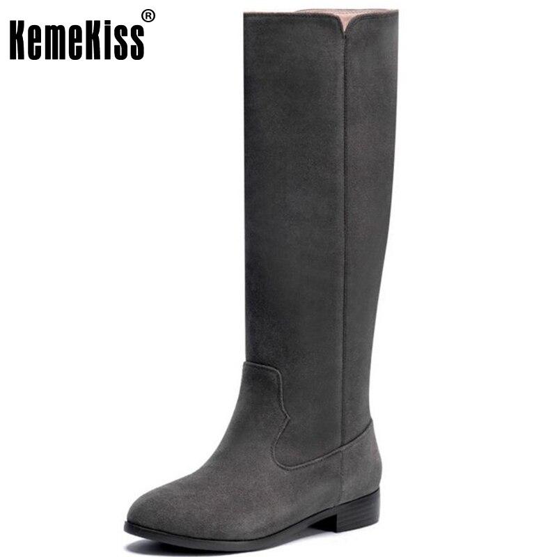 KemeKiss Women Genuine Leather Knee Boots Flats Boots Zipper Warm Fur Shoes In Cold Winter Botas For Women Footwears Size 33-40 hot sale winter warm fur inside men boots comfortable zipper designer man casual shoes genuine leather boots lu