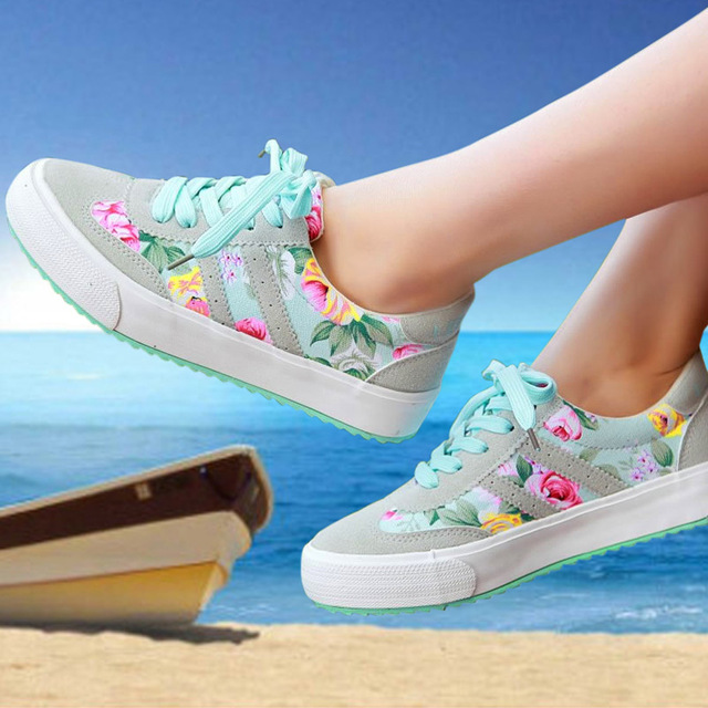 Casual shoes women platform women shoes 2016 New Arrivals printed Canvas shoes woman