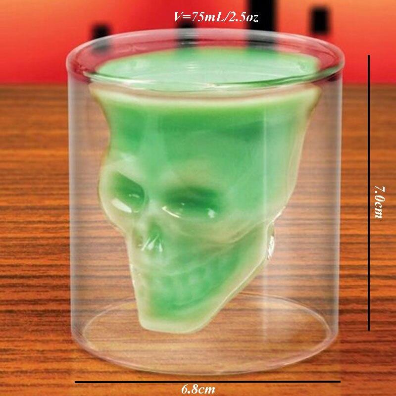 Childrens toy 75mL/2.5oz Novelty Drink Cup Horror Skull Glass Wine mug Glasses Skull Head Vodka Wineglass Kids Xmas toy gift