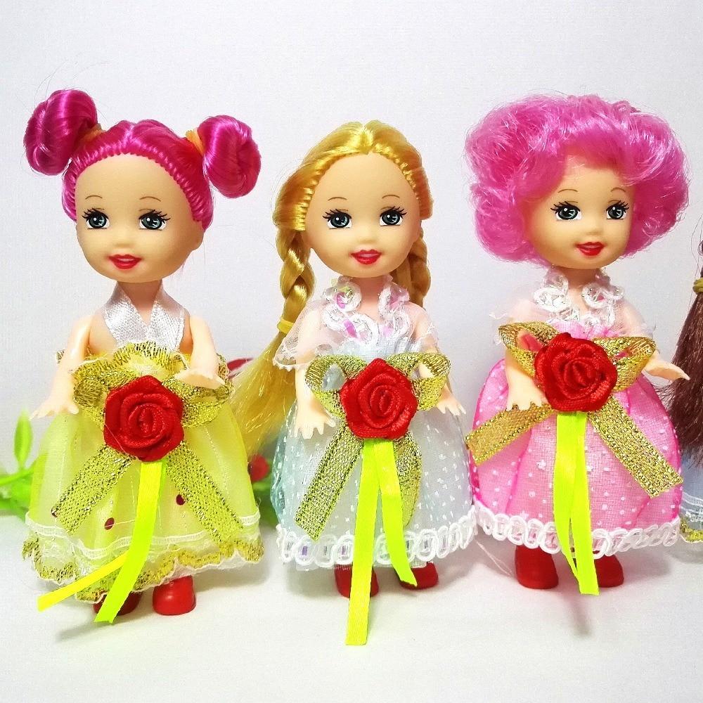 10cm Little Kelly Doll Toys Fashion Cartoon Princess Dolls Sister Kelly Dolls Mini Doll Toys For Barbie Kids Birthday Gift Girls