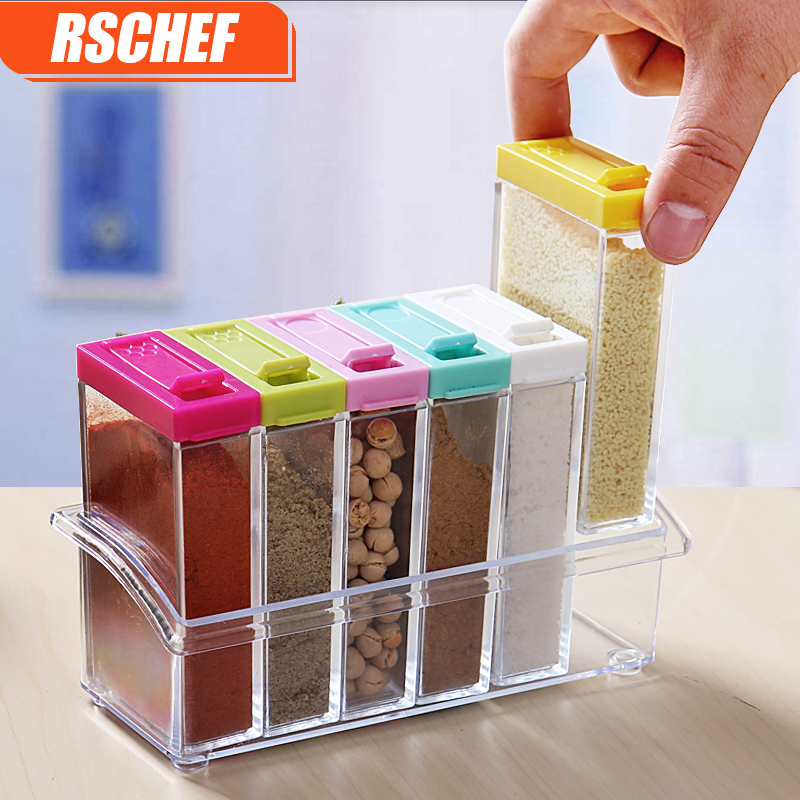 Acrylic transparent spice jar colorful lid seasoning box for Kitchen tool set of 6pcs sj