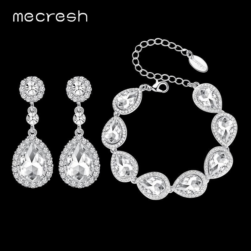 Mecresh Crystal Bridal Smykker Sæt Sølvfarvet Teardrop Bryllup Armbånd Øreringe Sæt Fashion Party Smykker SL051 + EH070