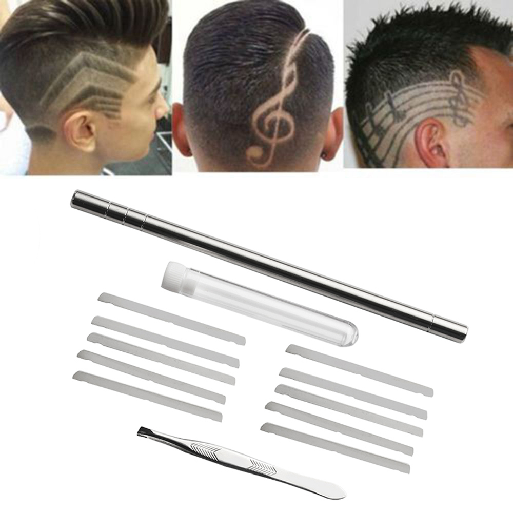 1 Set Template Hair Styling Shaping Eyebrows Beards Pen Salon Engraved Shaver Pen & 10 Blades Hair Care Tools Stainless Steel