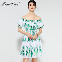 MoaaYina Designer Runway Sexy Off shoulder Dress Summer Women Slash neck Puff sleeve Ruched Elastic waist Print Pea Casual Dress