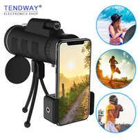 Tendway telescopio de lente de cámara de teléfono para lente de Zoom Moblie para lente Macro de teléfono inteligente para iPhone con brújula Clip de teléfono trípode