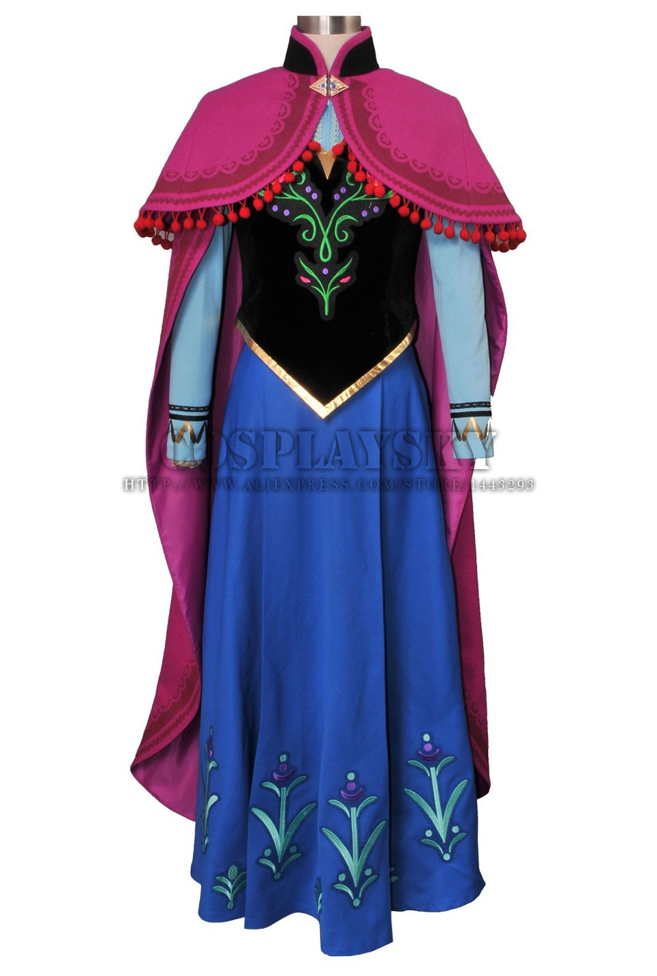 Frozen Anna Cosplay Costume Princess Anna Costume Set_01
