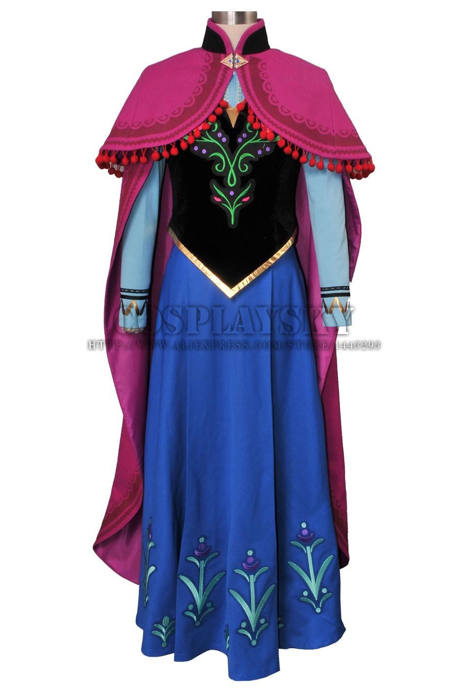 Frozen Anna Cosplay Costume Princess Anna Costume Set_01