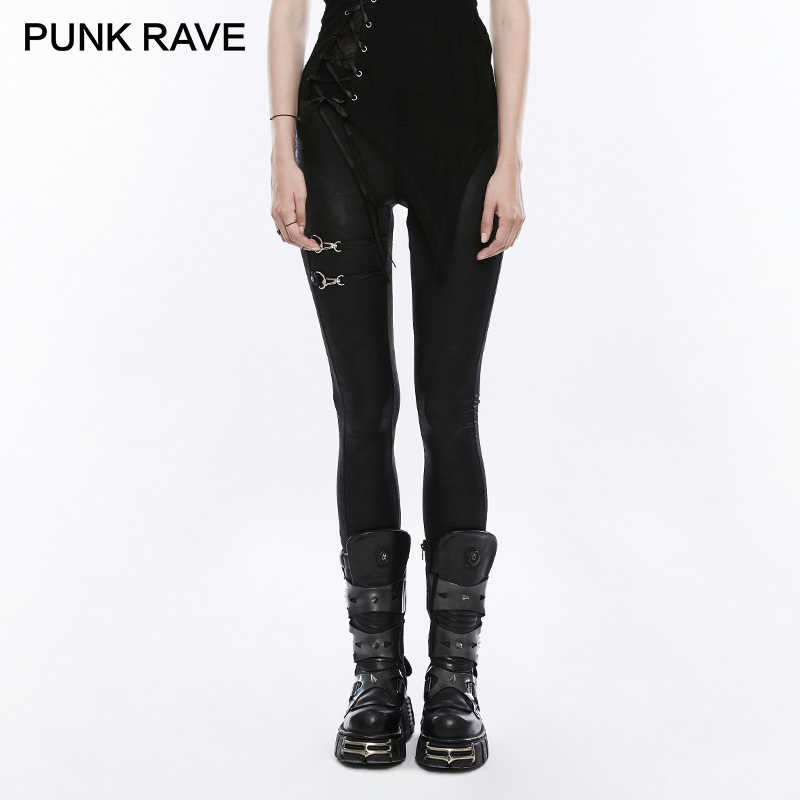 PUNK RAVE Punk Rock Dames Zwarte Elastische PU Leather Knit Slim Leggings Vrouwen bandage lace up Gothic Broek Casual Broek
