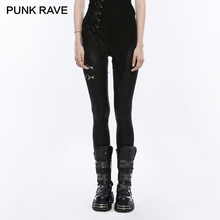 PUNK RAVE Punk Rock Ladies Black Elastic PU Leather Knit Slim Leggings Women bandage lace up Gothic Trousers Casual Pants