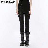 PUNK RAVE Punk Rock Ladies Black Elastic PU Leather Knit Slim Leggings Women bandage lace up Gothic Trousers Casual Pants