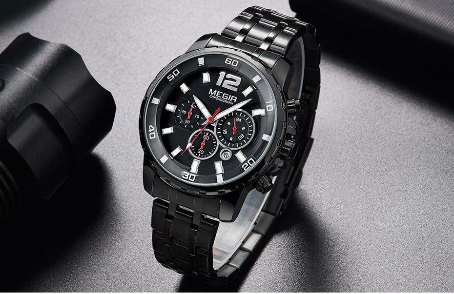 HTB13ATWa25TBuNjSspmq6yDRVXan Megir Men's Gold Stainless Steel Quartz Watches Business Chronograph Analgue Wristwatch for Man Waterproof Luminous 2068GGD-2N3