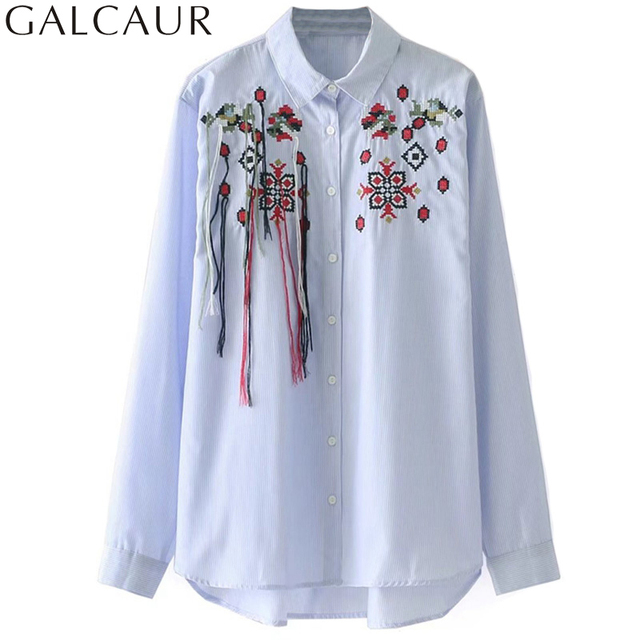 34d33749513dbd GALCAUR Embroidery Tassel Blouses Open Slit Lapel Long Sleeve Female Shirts  2017 Autumn Loose Big Size Women s Tops Clothing New