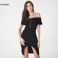 VANLED Summer Dress 2017 Party Clothes Women Short Sleeve Bodycon Solid Black Off Shoulder Ruffle Dress