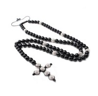 Shamballa Rosary Necklace Mens Ladies Cross White Crystal Bead Neckalce Hematite Necklace Religous Necklace Free Shipping