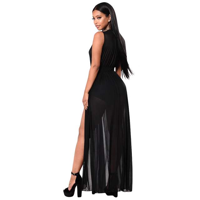 9521adf5ff Autumn Fashion Sexy Women Jumpsuit Sheer Mesh Bodysuit Deep V-Neck  Sleeveless Split Maxi Skirt Shorts Overalls Playsuit Black