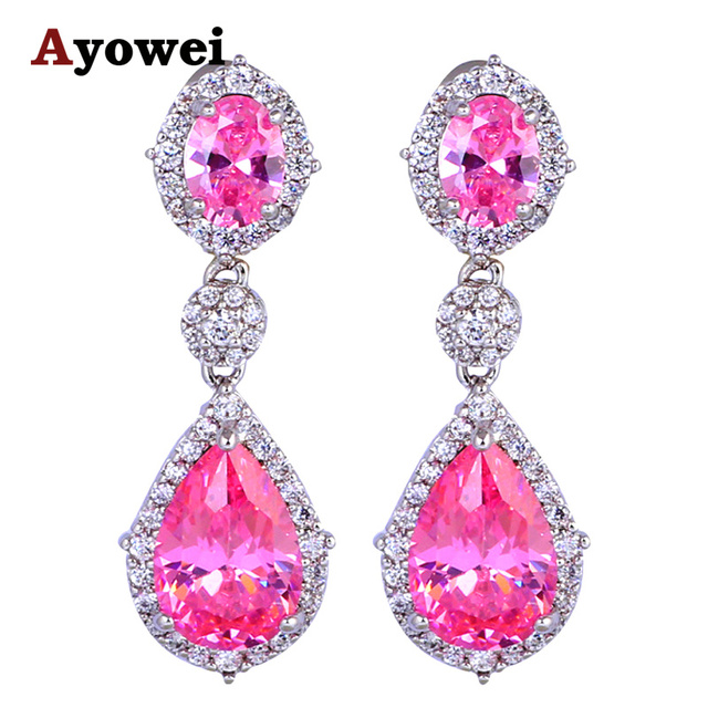 Latest Design Zircon Earrings For Women Australia Silver Pink Crystal Fashion Jewelry Party Stud