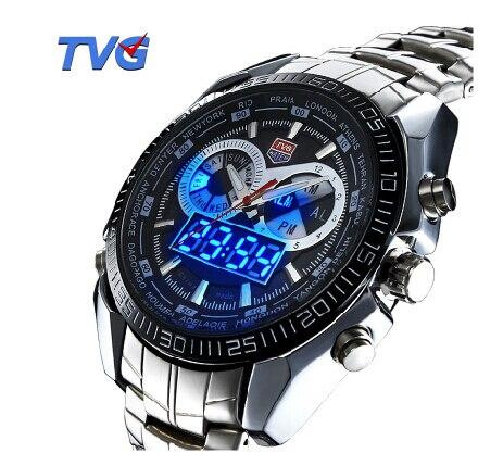 TVG Stainless Steel Quartz Analog Digital Clock Army Mens Sports Wrist Watch Multiple Time Zone Relogio