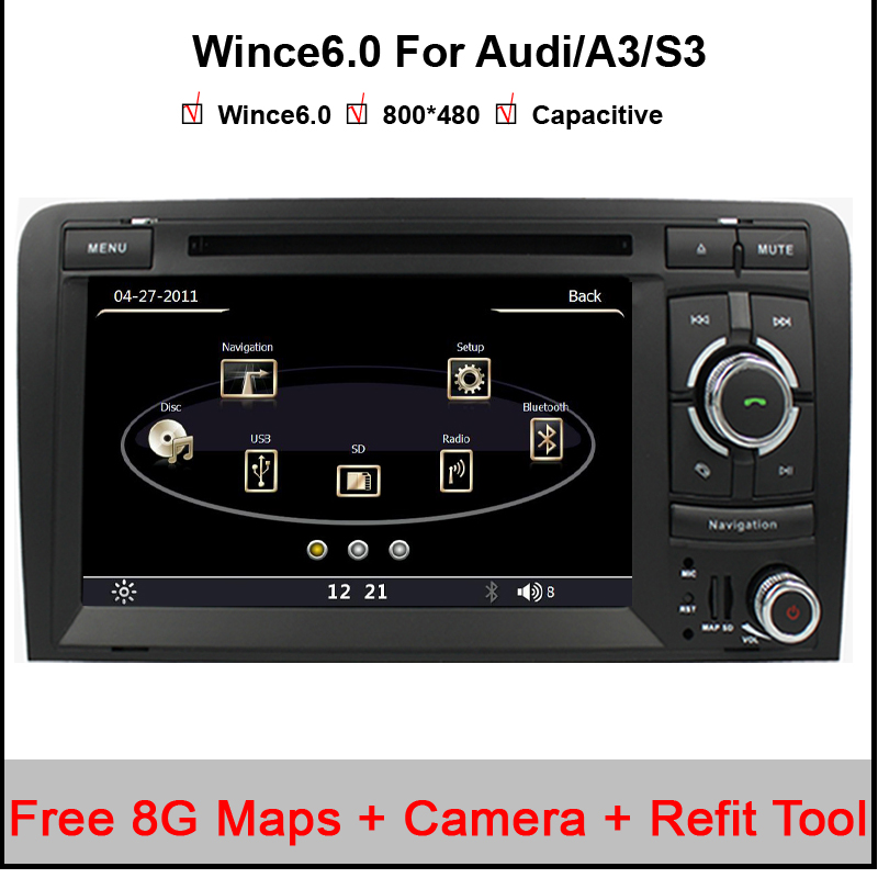 Capacitive Screen! Two Din 7 Inch Car DVD Player For Audi/A3/S3 2002-2011 Canbus Radio GPS Bluetooth 1080P 3G USB Host Ipod Map