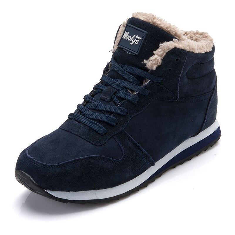 Hommes chaussures 2019 chaussures d'hiver Homme baskets fourrure chaude intérieur chaussures à semelle noir bleu hommes chaussures décontractées taille 48 Chaussure Homme