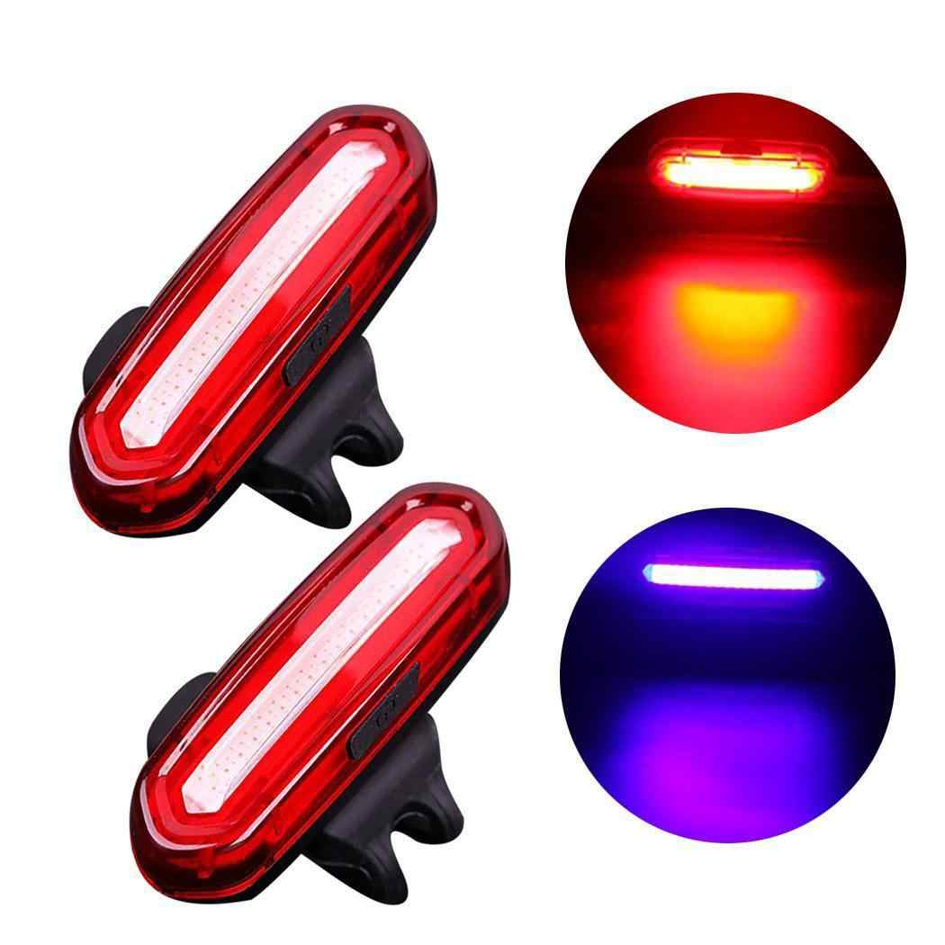Rechargeable Mountain Bike Tail Light Safety Warning Bicycle Rear LED USB Lamp