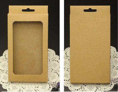3 גדלים שחור קראפט נייר קופסא עם חלון pvc נייד טלפון מקרה, קמעונאות טלפון מקרה תיבת אריזה, אוניברסלי טלפון תיבה
