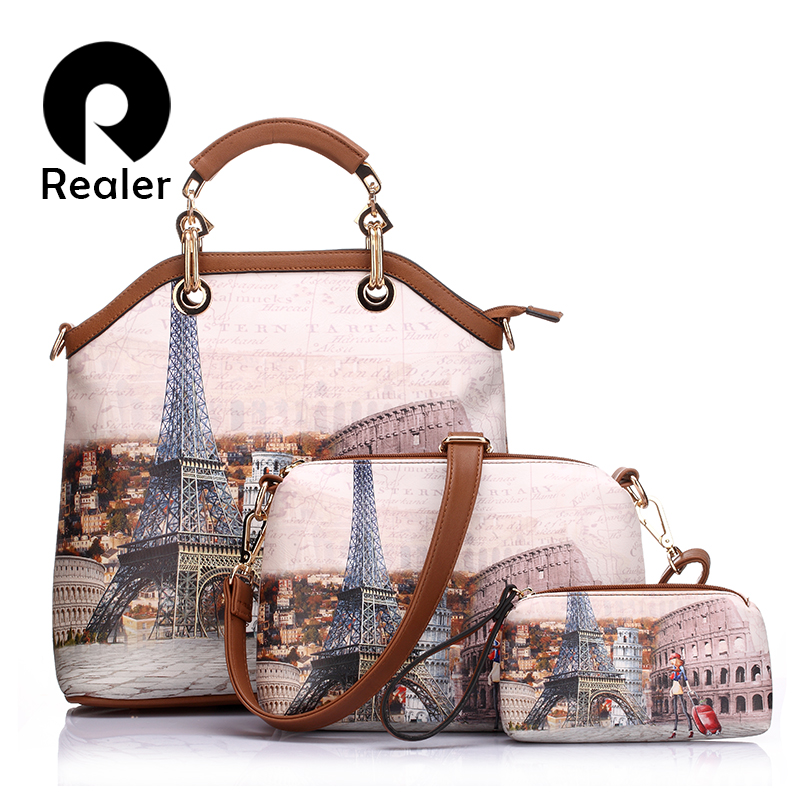 REALER brand 3 pcs printed handbag women large tote bag artificial leather shoul