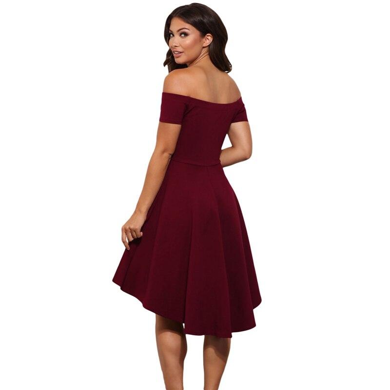 c41af2742f 2018 nuevos Vestidos elegantes de la princesa del otoño de las mujeres 2018  nuevo verano fuera del hombro de manga corta vestido de línea a asimétrico  ...