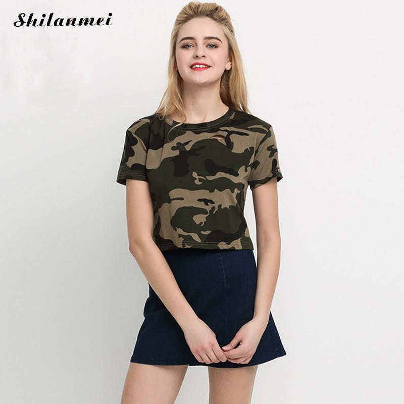 588a86335b1ff Woman Army Crop Tops Camouflage Summer Style 2017 New Arrival Casual Tees  Crew Neck Print Rolled Short Sleeve T shirt-in T-Shirts from Women s  Clothing on ...