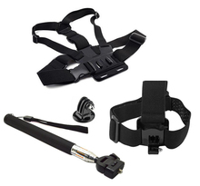 3 в 1 для GoPro Интимные Аксессуары Эластичный Шнур нагрудный, ремень на голову + селфи палка для GoPro Hero 3 +/3/2 Открытый Спорт экшн-камеры