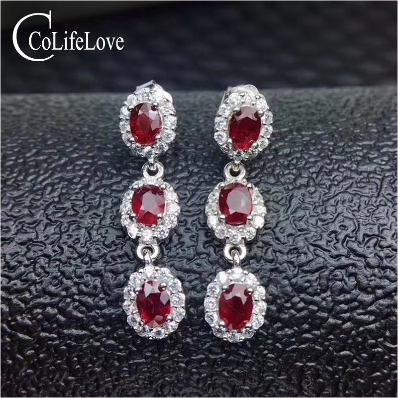 Classic ruby silver drop earrings for wedding six pieces natural ruby gemstone earrings solid 925 silver