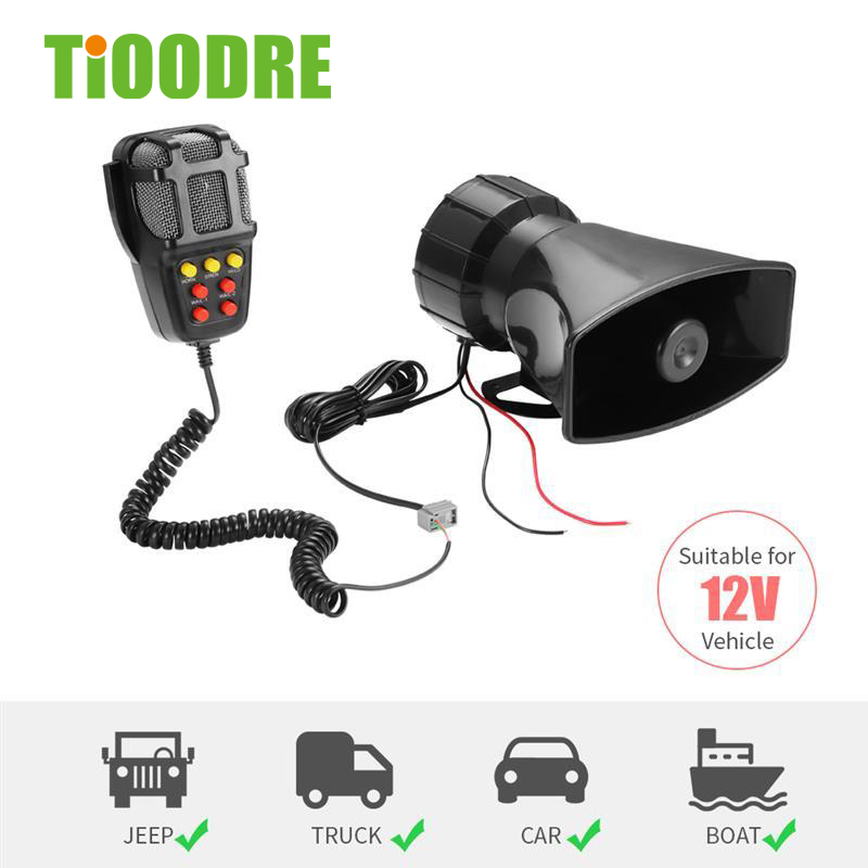 TiOODRE 7 Tone Sound Car Recording Emergency Siren Car Siren Horn Mic PA Speaker System Emergency Amplifier 12V 100W