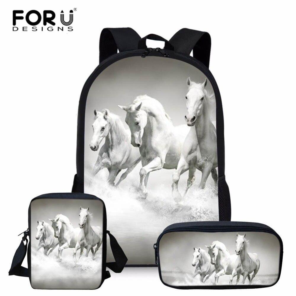 FORUDESIGNS 3d Horse Print School Bags for Kids Boys School Backpacks Shoulder Bagpack Children Bookbag Satchel 3pcs/set