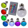 E27 E14 RGB lâmpada LED RGB lâmpada lâmpada 110 V 220 V 16 mudança de cor de controle remoto Lampada LED Luz