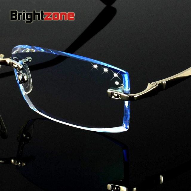 e9689075916 High-end Customized Korean Crystal Diamond Cutting Side Rimless Men  Prescription Diopter Eyeglasses Frame Optical Eye Glasses