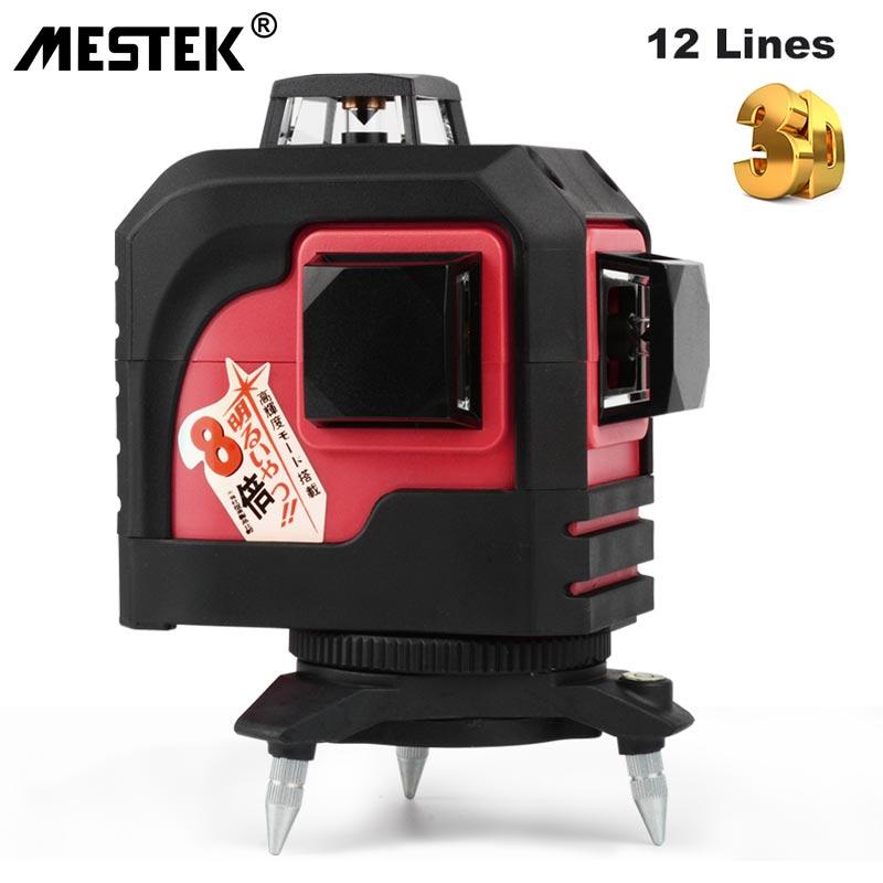 MESTEK 12 ligne 3D 93T Niveau Nivel Niveau Laser auto-nivelant 360 croix horizontale et verticale ligne de faisceau Laser rouge Super puissante