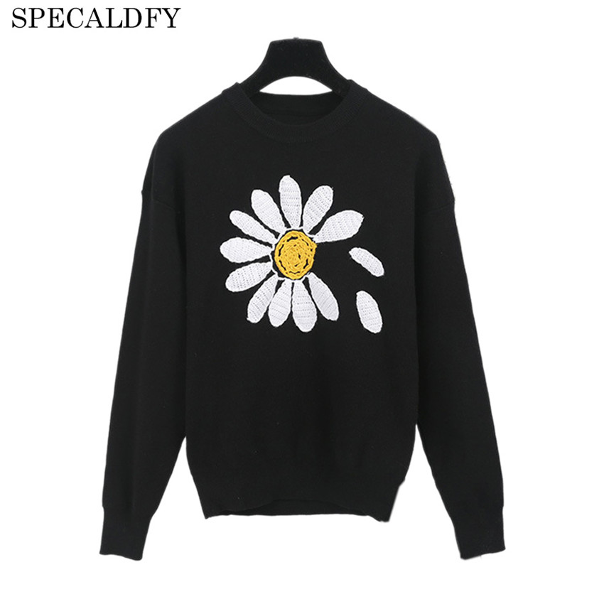 Runway Designer Sweater Women Long Sleeve Floral Embroidery Brand Knitted Sweaters And Pullovers Autumn Winter Jumper Pull Femme