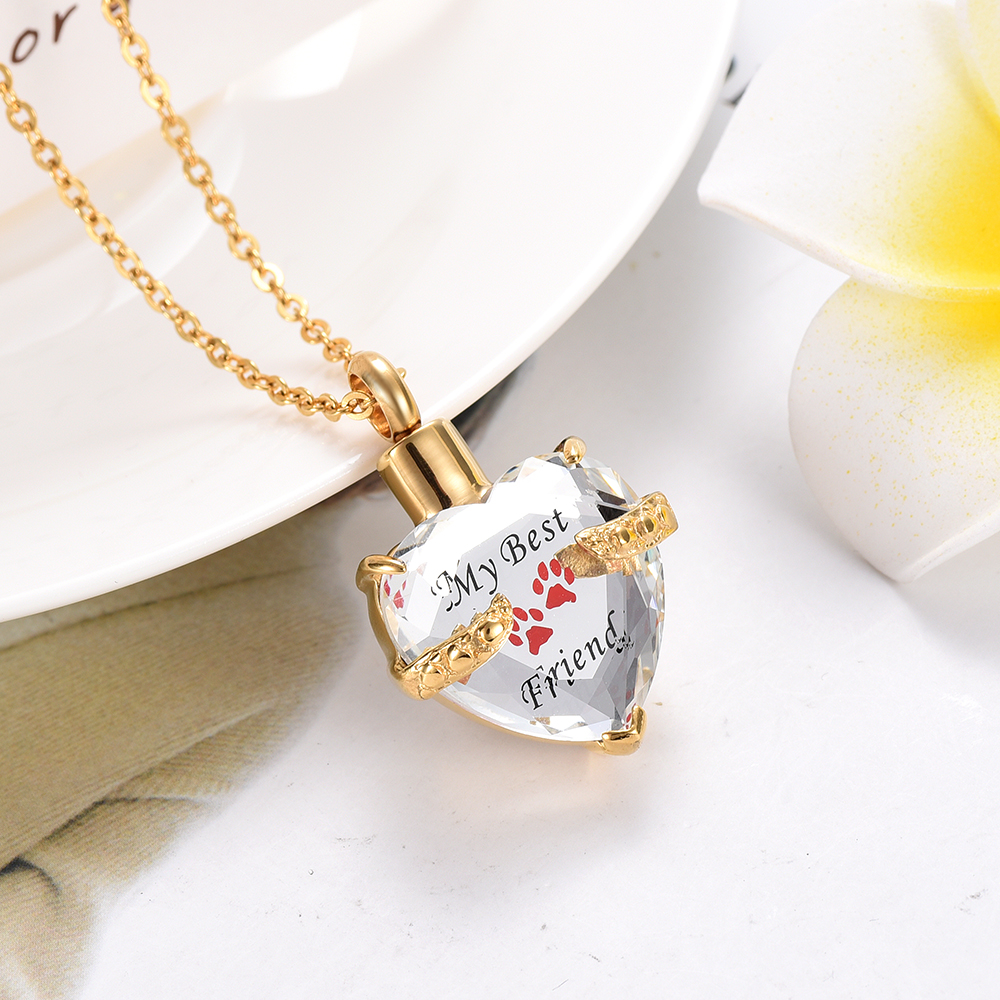 KLH7209 Solid Golden Back Pet Heart Memorial Necklace Dogs Ashes Cremation Urn Jewelry Pendant Cremation-Passing Paws Keepsakes