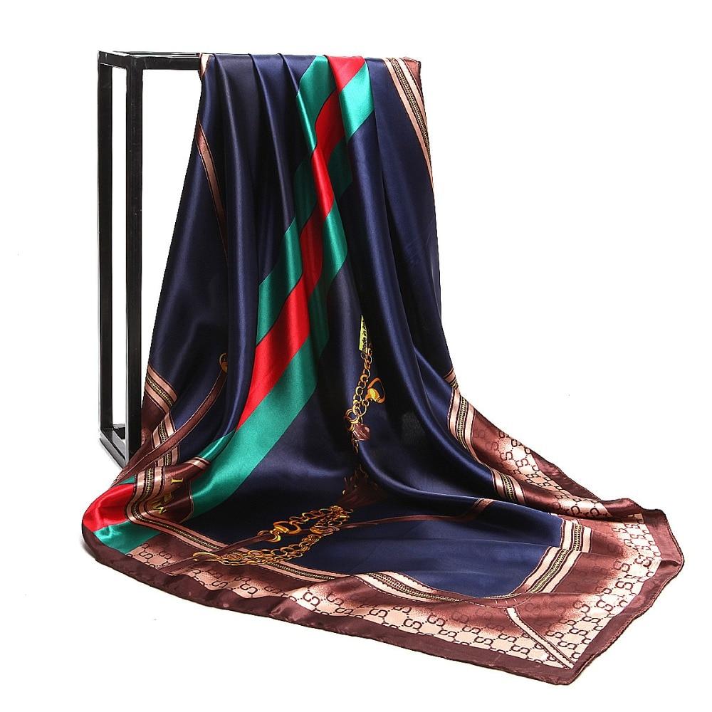 POBING Women Silk   Scarf   Chain Striped Square Head   Scarves     Wraps   Luxury Brand Quality Female Foulard Satin Muslim Hijab 90*90cm