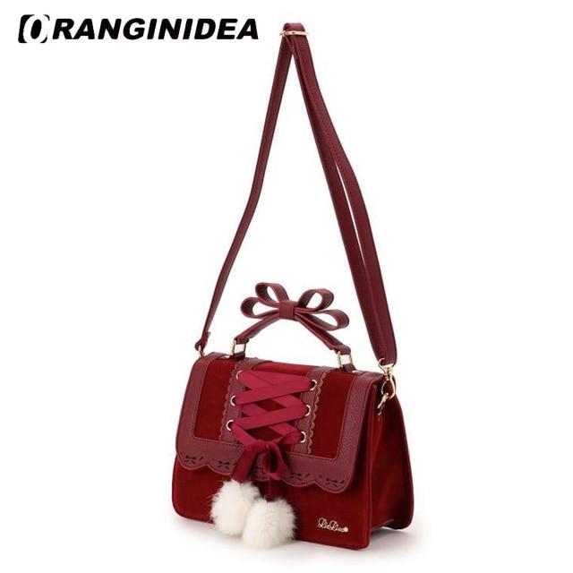 bad36d0019 2018 New Fashion Liz Lisa Cute Bow Shoulder Bags Women Sweet Red Handbag  Famous Brand Designer Girl Leather Shoulder Bag