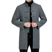 Autumn Man Ethnic Tunic Suit Kong Fu Jacket Blazer Black Tangzhuang Men Oriental Jackets Male Mandarin Collar Tweed Blazers New