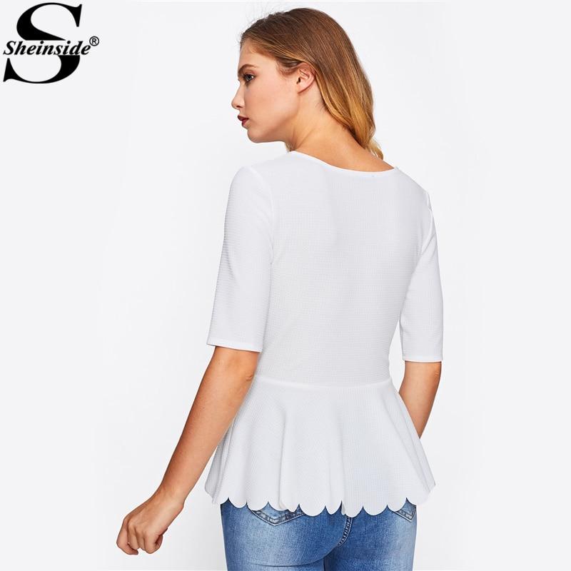 Sheinside Laser Cut Neck Scallop Hem Textured Peplum Blouse 2017 White Round Neck Half Sleeve Plain Blouse Women Elegant Blouse