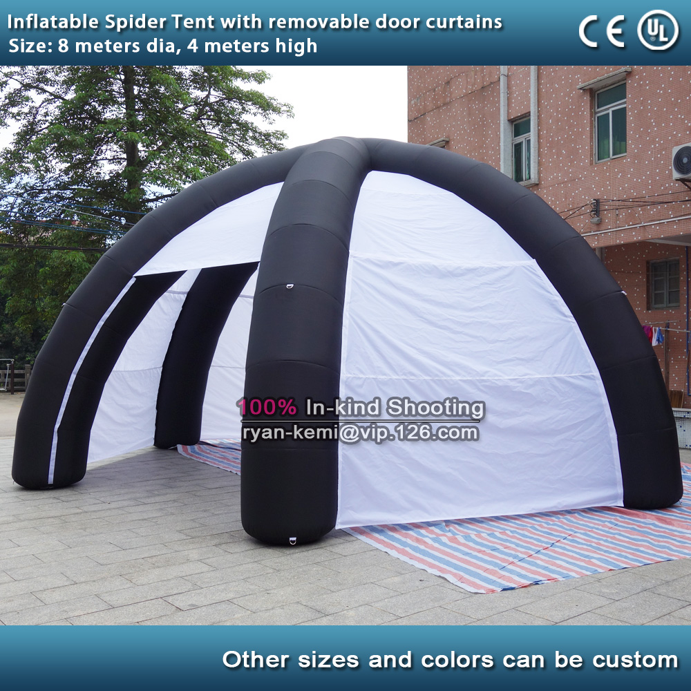 Free shipping 8m dia Inflatable spider tent with removable door curtains inflatable garage cabin 26ft inflatable dome tent цена