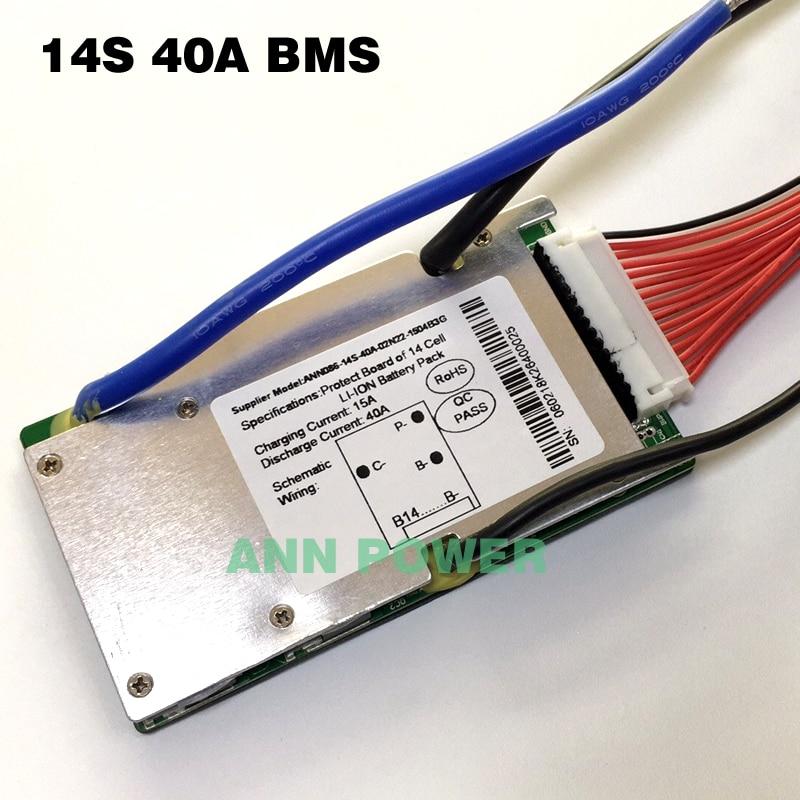 14S литий ионный аккумулятор BMS 14S 48V 20A, 30A и 40A BMS для 14S 51,8 V 500W 2000W комплект литий ионный батарей ионный аккумулятор с функцией балансаАксессуары для батарей   -