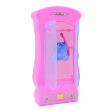 1 Set Dolls Accessories Wardrobe with 5pcs Hanger For 30cm Doll Miniature Furniture Garderobe for Toys Girls