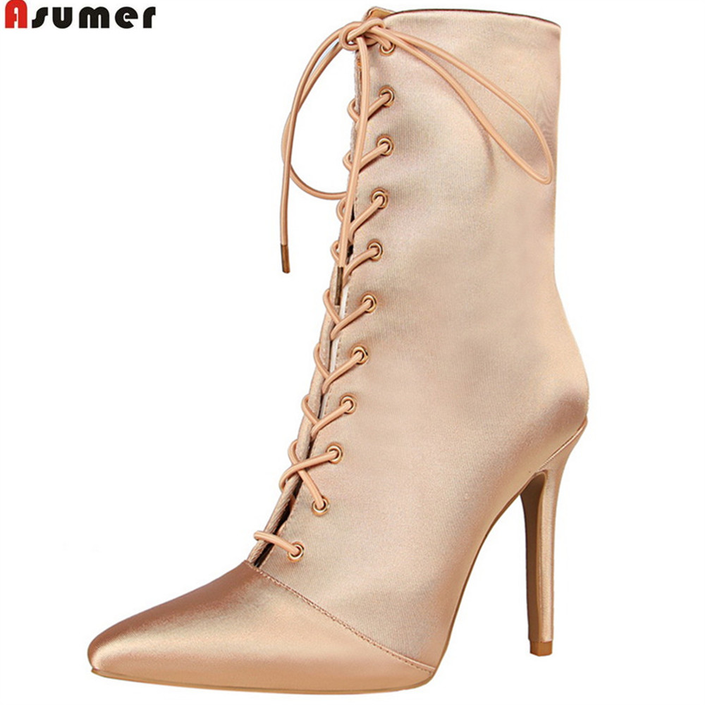 ASUMER black fashion spring autumn women shoes pointed toe ladies boots zipper cross tied elegant thin heel ankle boots women ankle boots 2016 round toe autumn shoes booties lace up black and white ladies short 2017 flat fashion female new chinese