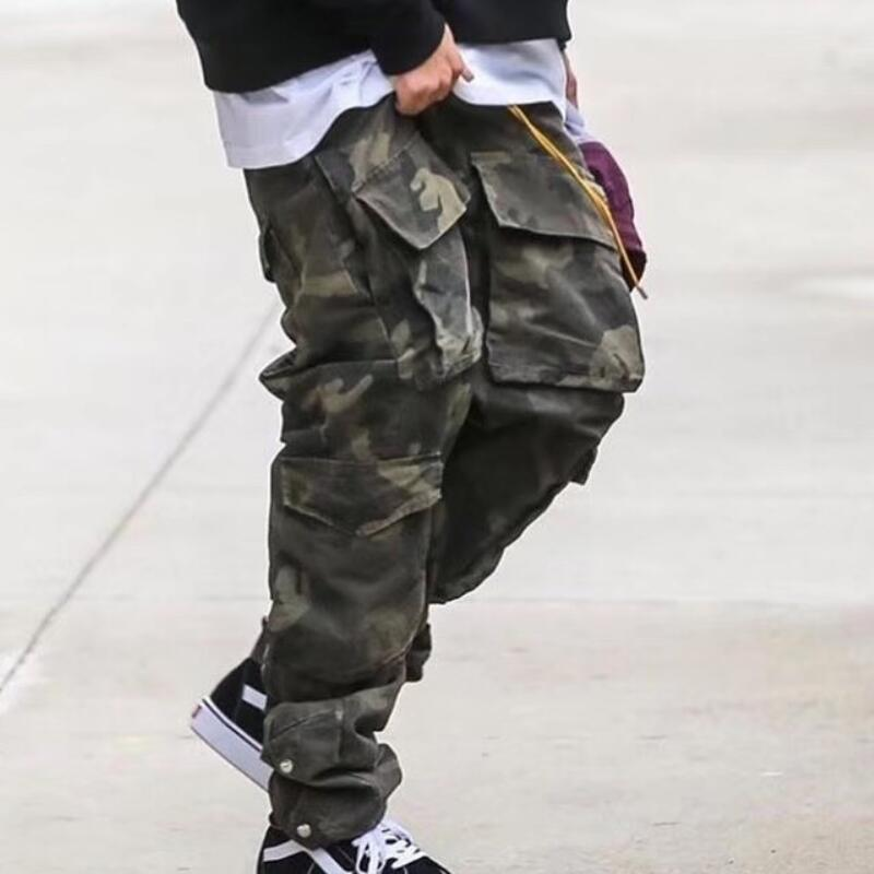 High Quality Vintage-Camo Cotton Cargo Pants Ankle-length Snap Jogger Pants Eight Pocket Styling Justin Bieber Streetwear